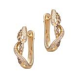 Золотые серьги с бриллиантами Дина