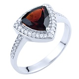 Серебряное кольцо Фелициана с гранатом и фианитами