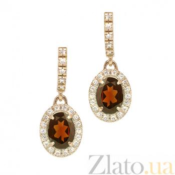 Золотые серьги с сапфирами и бриллиантами Райские ягоды Осень 000029610