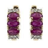 Золотые серьги Хелена с рубинами и бриллиантами
