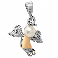 Серебряный кулон Ангелочек с жемчугом, фианитами и золотой накладкой
