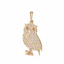 Золотой подвес Застенчивая совушка в усыпке фианитов
