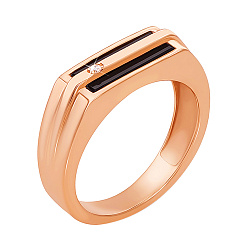 Золотое кольцо-печатка Империал с ониксом и фианитом