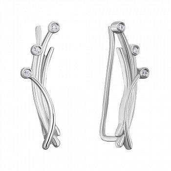 Серебряные серьги-каффы с фианитами 000150295