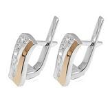 Серебряные серьги с золотыми вставками и фианитами Нежность