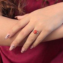 Золотое кольцо Алисия с кораллом и фианитами