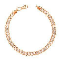 Золотой браслет в комбинированном цвете фантазийного плетения 000104366