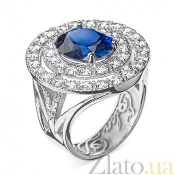 Золотое кольцо с сапфиром и бриллиантами Императрица R 0643