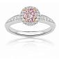 Кольцо Argile из белого золота с бриллиантами и розовым сапфиром солите 000013489