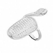 Серебряное кольцо-ноготь с фианитами Богемный стиль