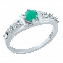 Серебряное кольцо Вероника с изумрудом и фианитами