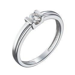 Золотое помолвочное кольцо в белом цвете с бриллиантом 000079373