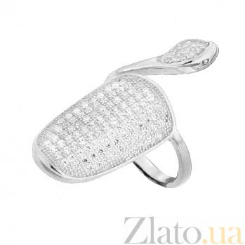 Серебряное кольцо-ноготь с фианитами Богемный стиль 000028090