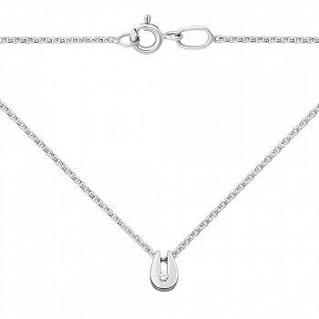 Кольє з білого золота з діамантом в якірному плетінні 000126299