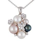 Кулон из белого золота с бриллиантами и жемчугом Изысканная россыпь