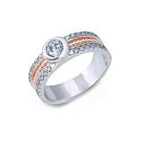 Кольцо серебряное с позолотой и цирконом