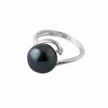 Серебряное кольцо Бернадетт с черной жемчужиной и Swarovski Zirconia