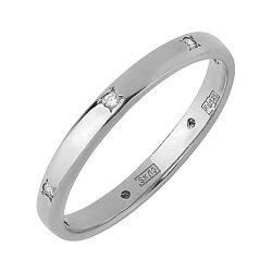 Кольцо обручальное в белом золоте с фианитами 000011286