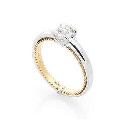 Золотое кольцо Лобелия с бриллиантами 000070381