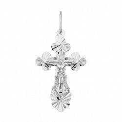 Серебряный православный крестик с алмазной гранью 000133493