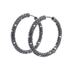 Золотые черненые серьги Шарпи с черными и белыми бриллиантами