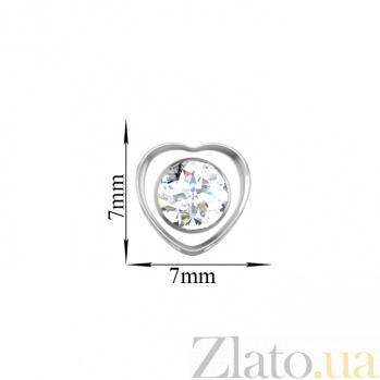 Золотая подвеска Сияющее сердце в белом цвете с завальцованным фианитом 000100295