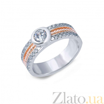 Кольцо серебряное с позолотой и цирконом AQA--SK-RA022sl