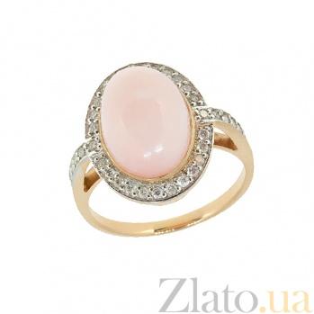 Золотое кольцо в красном цвете с розовым опалом и бриллиантами Млада ZMX--ROp\r-6649_K