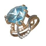 Золотое кольцо с топазами и фианитами Карисса