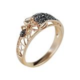 Золотое кольцо с черными бриллиантами Трудолюбие