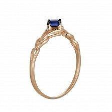 Кольцо из красного золота Элеонора с сапфиром и бриллиантами