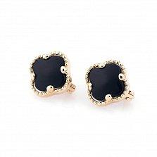 Золотые сережки Клевер с черным ониксом