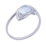 Золотое кольцо с голубым топазом и фианитами Фелисия