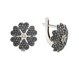 Серьги с черными бриллиантами Глоксиния