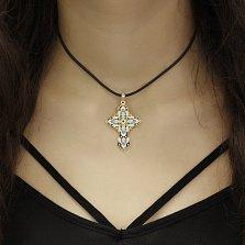 Золотой крест Восхищение с разноцветной эмалью и бриллиантами