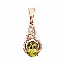 Кулон из красного золота с хризолитом и фианитами 000133282