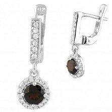 Серебряные серьги-подвески Марта с гранатом и фианитами
