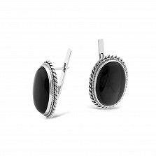 Серебряные серьги Моргана с имитацией черного оникса