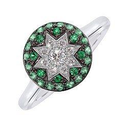 Кольцо из белого золота Счастливая звезда с бриллиантами и цаворитами 000081003