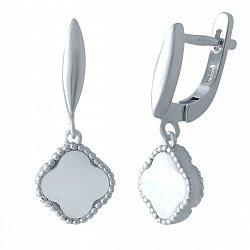 Серебряные серьги-подвески Белый клевер с перламутром в стиле Ван Клиф