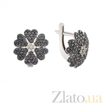 Серьги с черными бриллиантами Глоксиния KBL--С2398/бел/чбрил