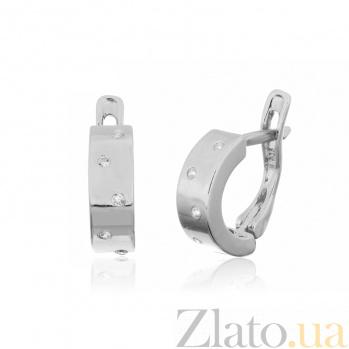 Серебряные сережки с цирконием Брызги шампанского SLX--С2Ф/002