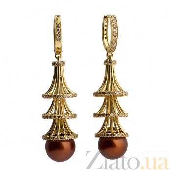 Серьги-подвески с бриллиантами и жемчугом Елочка 000030261