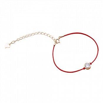 Браслет из серебра и шелковой красной нити Фрея с цирконием и позолотой 000099333