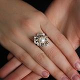 Серебряное кольцо с жемчугом и цирконием Магнолия