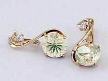Золотые серьги с зеленым аметистом и фианитом Джунгли