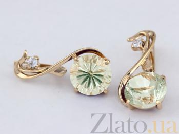 Золотые серьги с зеленым аметистом и фианитом Джунгли VLN--113-573-5