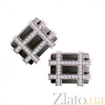 Золотые запонки с бриллиантами Шерлок KBL--З001/бел/брил
