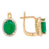 Золотые серьги Пилар с зеленым ониксом и фианитами