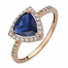 Золотое кольцо Габриэлла с сапфиром и фианитами